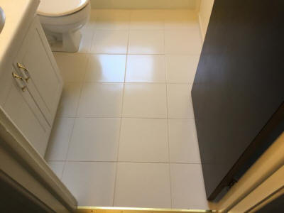 NEW ceramic tile on bath floor